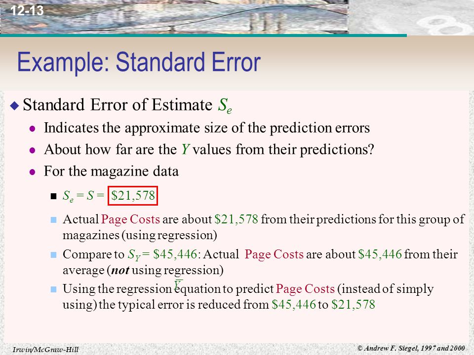 Irwin/McGraw-Hill © Andrew F. Siegel, 1997 and 2000 12-13 Example: Standard Error  Standard Error of Estimate S e Indicates the approximate size of t