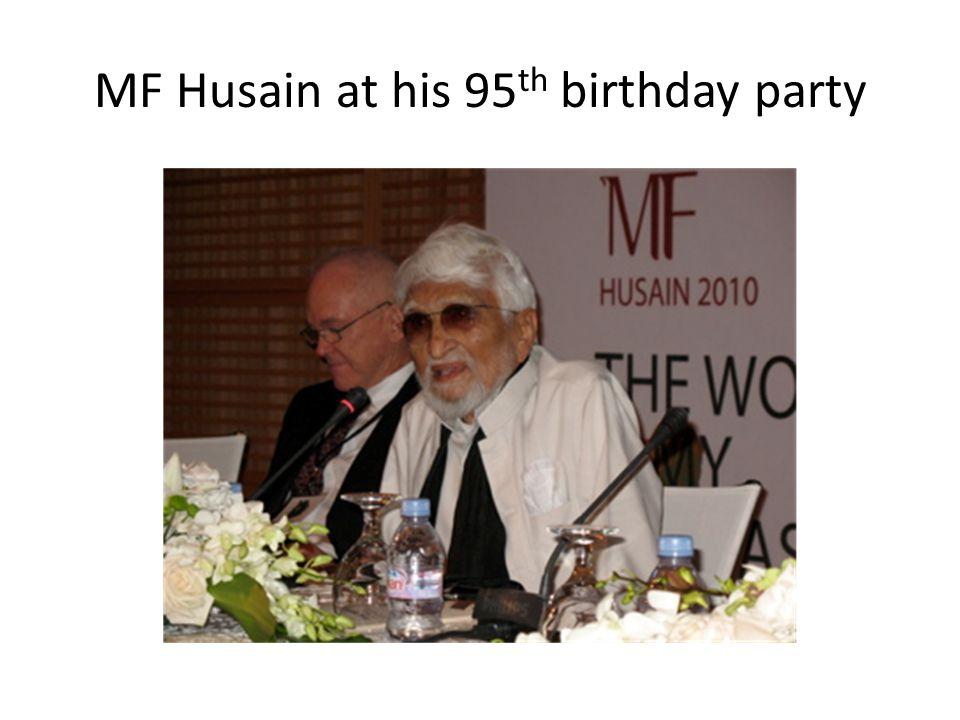 MF Husain at his 95 th birthday party