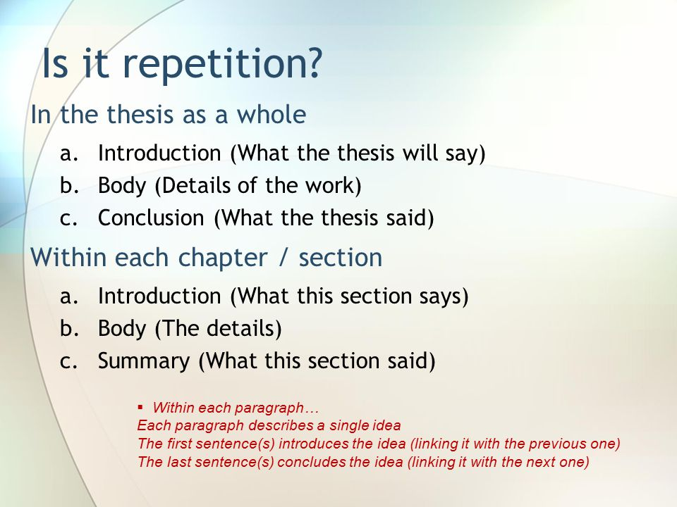 In the thesis as a whole a.Introduction (What the thesis will say) b.Body (Details of the work) c.Conclusion (What the thesis said) Within each chapter / section a.Introduction (What this section says) b.Body (The details) c.Summary (What this section said) Is it repetition.