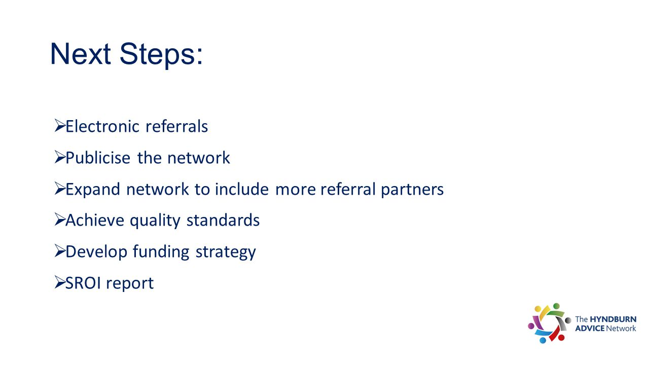 Next Steps:  Electronic referrals  Publicise the network  Expand network to include more referral partners  Achieve quality standards  Develop fu
