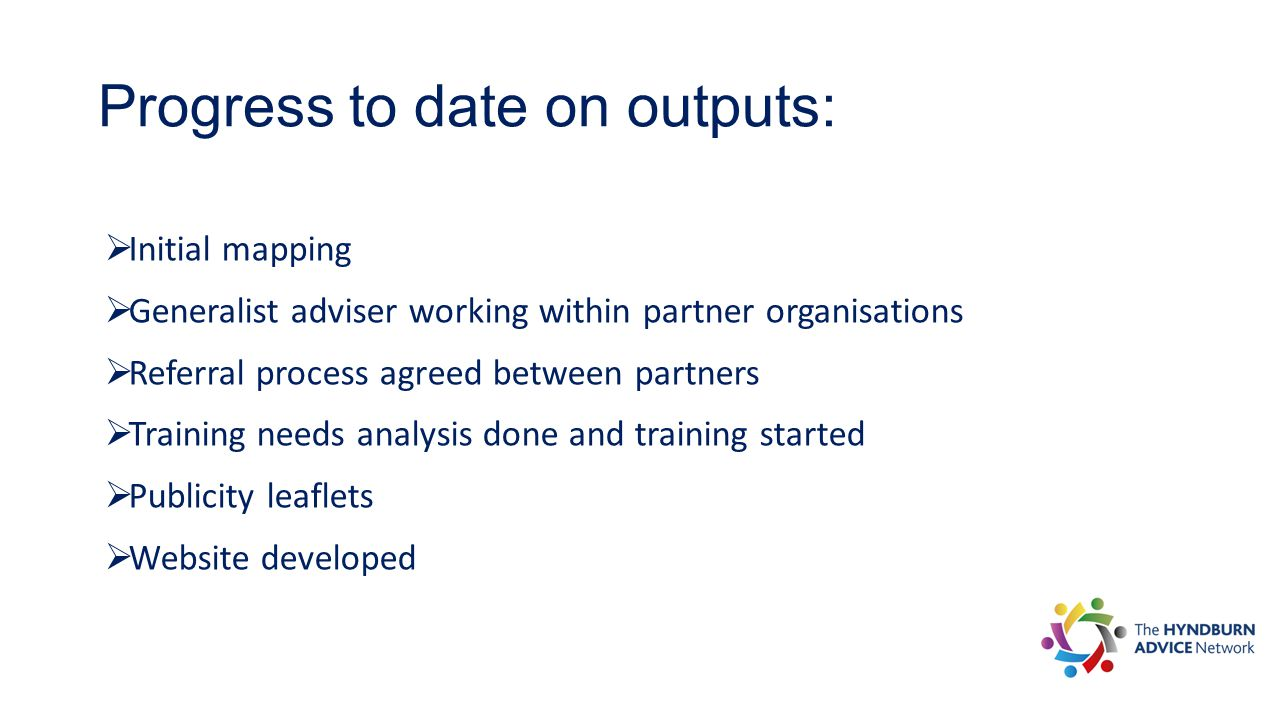 Progress to date on outputs:  Initial mapping  Generalist adviser working within partner organisations  Referral process agreed between partners  Training needs analysis done and training started  Publicity leaflets  Website developed