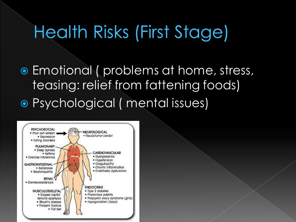  Emotional ( problems at home, stress, teasing: relief from fattening foods)  Psychological ( mental issues)