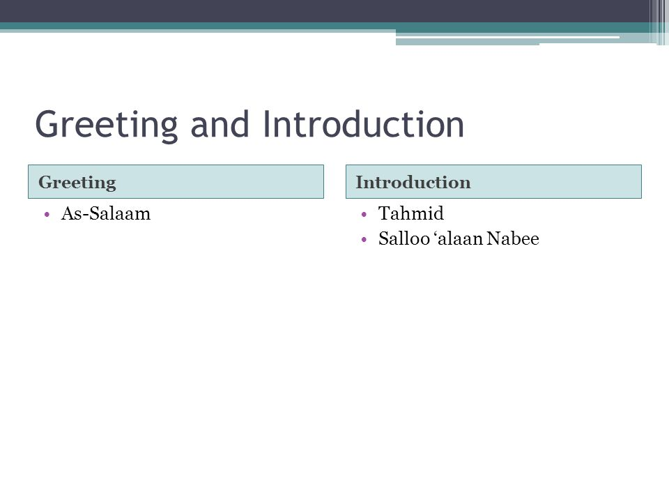 Greeting and Introduction GreetingIntroduction As-SalaamTahmid Salloo 'alaan Nabee