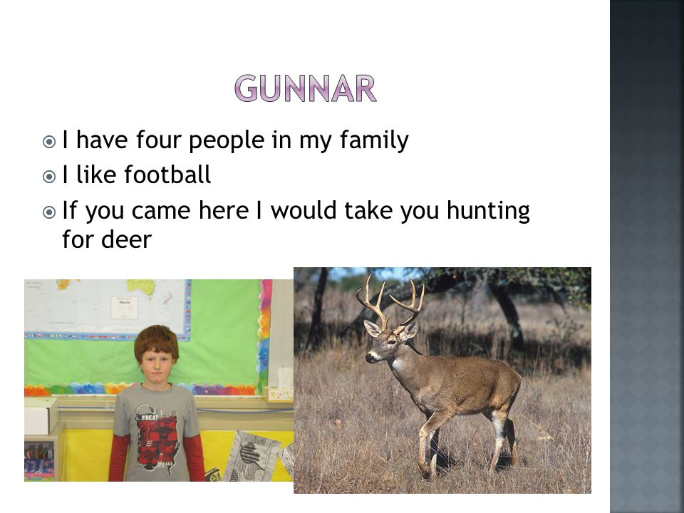  I have four people in my family  I like football  If you came here I would take you hunting for deer