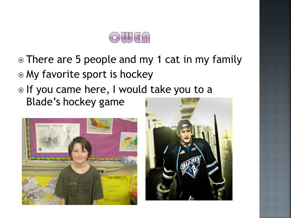  There are 5 people and my 1 cat in my family  My favorite sport is hockey  If you came here, I would take you to a Blade's hockey game