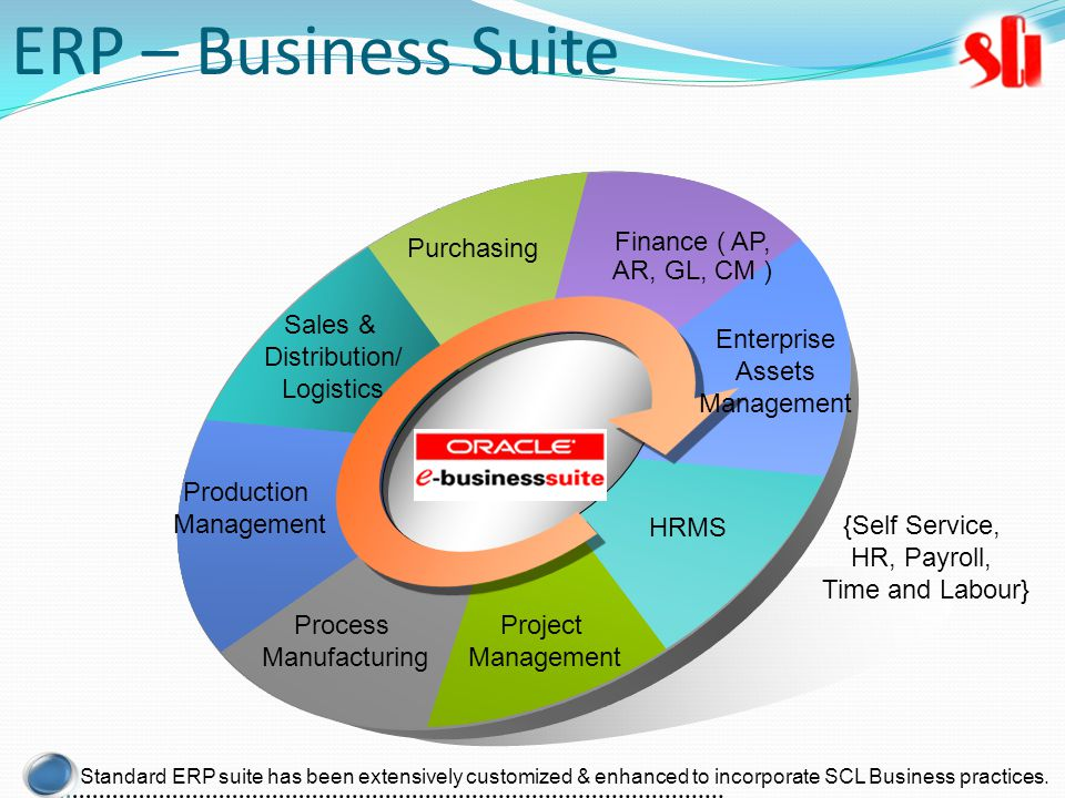 Purchasing Production Management HRMS Project Management Process Manufacturing Finance ( AP, AR, GL, CM ) Sales & Distribution/ Logistics Enterprise Assets Management {Self Service, HR, Payroll, Time and Labour} Standard ERP suite has been extensively customized & enhanced to incorporate SCL Business practices.