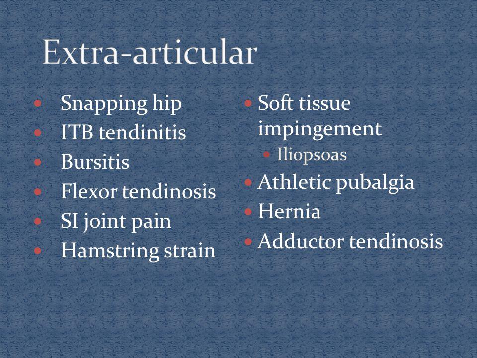 Snapping hip ITB tendinitis Bursitis Flexor tendinosis SI joint pain Hamstring strain Soft tissue impingement Iliopsoas Athletic pubalgia Hernia Adduc