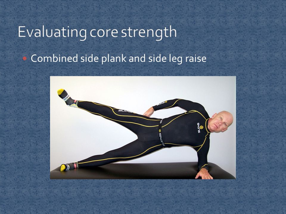 Combined side plank and side leg raise