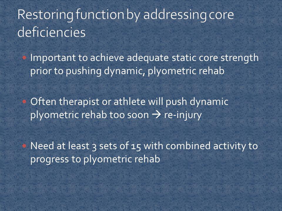 Important to achieve adequate static core strength prior to pushing dynamic, plyometric rehab Often therapist or athlete will push dynamic plyometric