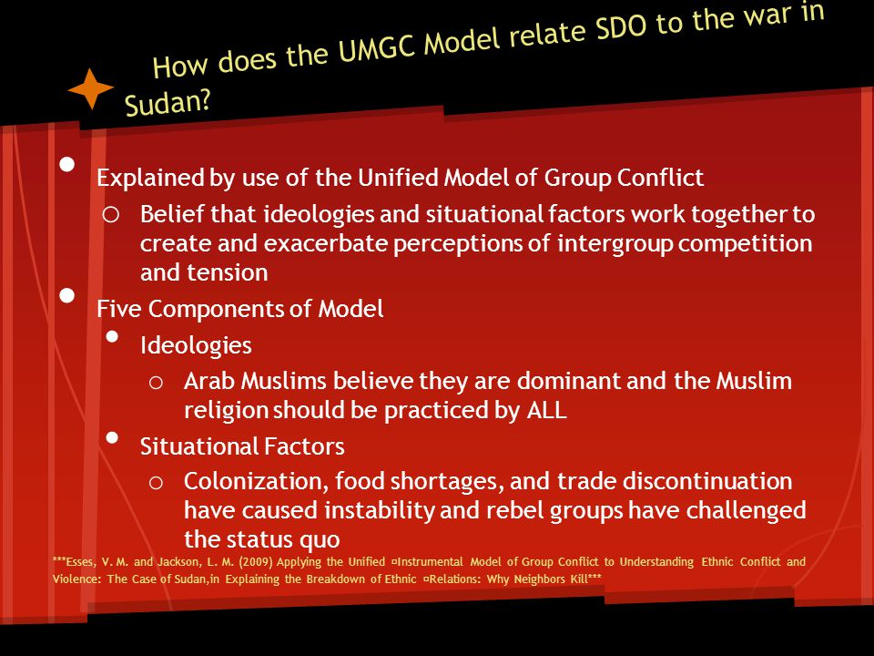 How does the UMGC Model relate SDO to the war in Sudan? Explained by use of the Unified Model of Group Conflict o Belief that ideologies and situation
