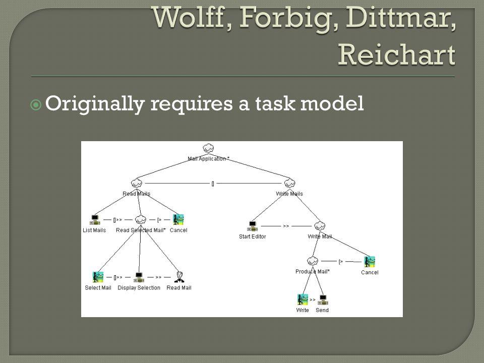  Originally requires a task model