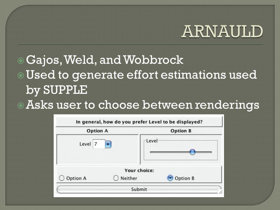  Gajos, Weld, and Wobbrock  Used to generate effort estimations used by SUPPLE  Asks user to choose between renderings