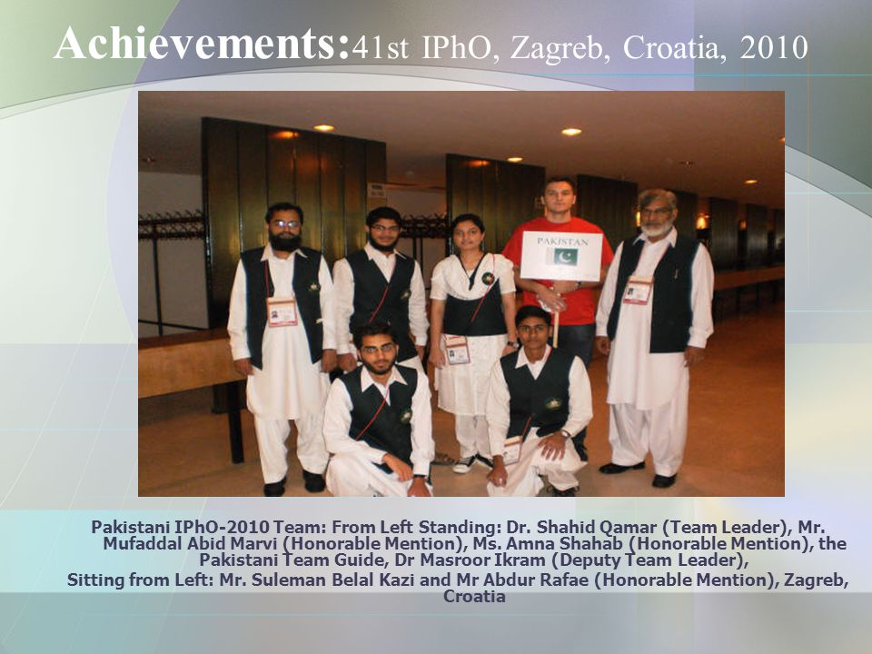Achievements: 41st IPhO, Zagreb, Croatia, 2010 Pakistani IPhO-2010 Team: From Left Standing: Dr.