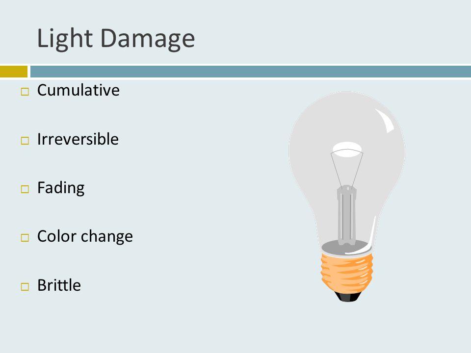 Light Damage  Cumulative  Irreversible  Fading  Color change  Brittle
