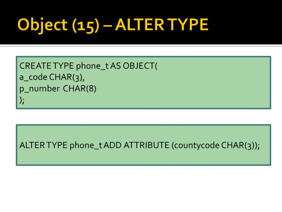CREATE TYPE phone_t AS OBJECT( a_code CHAR(3), p_number CHAR(8) ); ALTER TYPE phone_t ADD ATTRIBUTE (countycode CHAR(3));