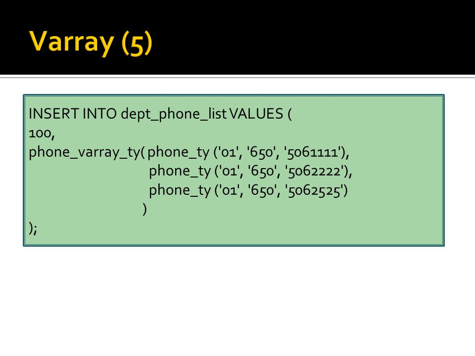 INSERT INTO dept_phone_list VALUES ( 100, phone_varray_ty( phone_ty ( 01 , 650 , 5061111 ), phone_ty ( 01 , 650 , 5062222 ), phone_ty ( 01 , 650 , 5062525 ) ) );