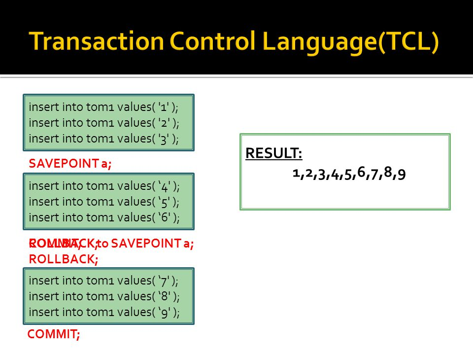 insert into tom1 values( 1 ); insert into tom1 values( 2 ); insert into tom1 values( 3 ); insert into tom1 values( '4 ); insert into tom1 values( '5 ); insert into tom1 values( '6 ); insert into tom1 values( '7 ); insert into tom1 values( '8 ); insert into tom1 values( '9 ); SAVEPOINT a; ROLLBACK; COMMIT; RESULT: 7,8,9 ROLLBACK to SAVEPOINT a; RESULT: 1,2,3,7,8,9 COMMIT; ROLLBACK; RESULT: 1,2,3,4,5,6,7,8,9