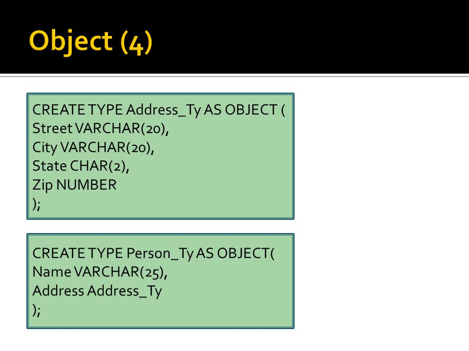CREATE TYPE Address_Ty AS OBJECT ( Street VARCHAR(20), City VARCHAR(20), State CHAR(2), Zip NUMBER ); CREATE TYPE Person_Ty AS OBJECT( Name VARCHAR(25