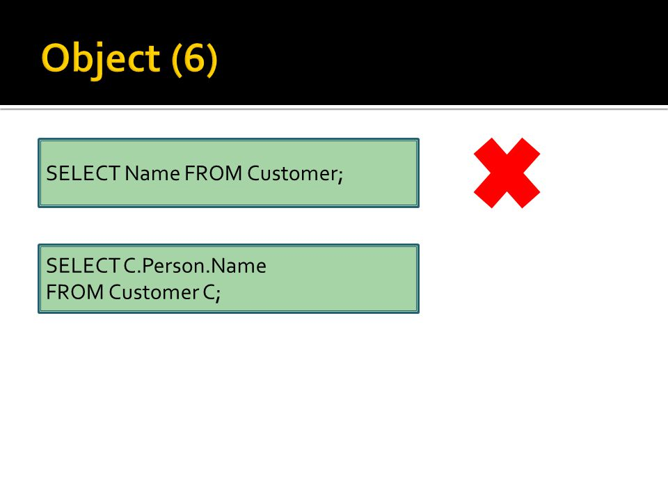 SELECT Name FROM Customer; SELECT C.Person.Name FROM Customer C;