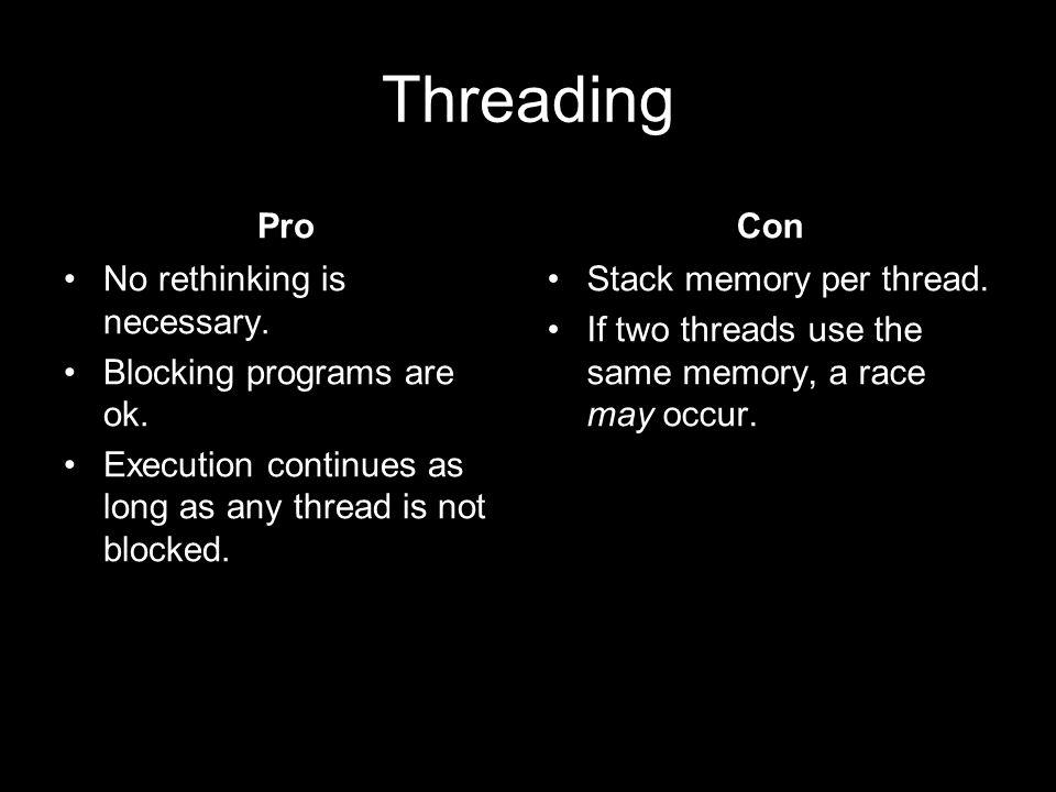 Threading Pro No rethinking is necessary. Blocking programs are ok.
