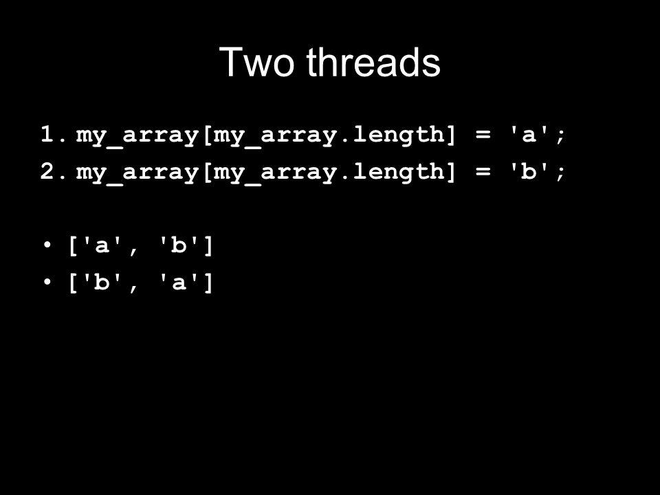 Two threads 1.my_array[my_array.length] = a ; 2.my_array[my_array.length] = b ; [ a , b ] [ b , a ]