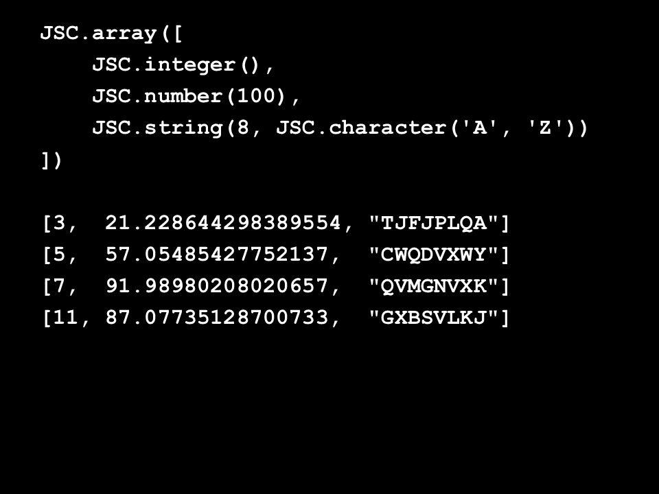 JSC.array([ JSC.integer(), JSC.number(100), JSC.string(8, JSC.character( A , Z )) ]) [3, 21.228644298389554, TJFJPLQA ] [5, 57.05485427752137, CWQDVXWY ] [7, 91.98980208020657, QVMGNVXK ] [11, 87.07735128700733, GXBSVLKJ ]