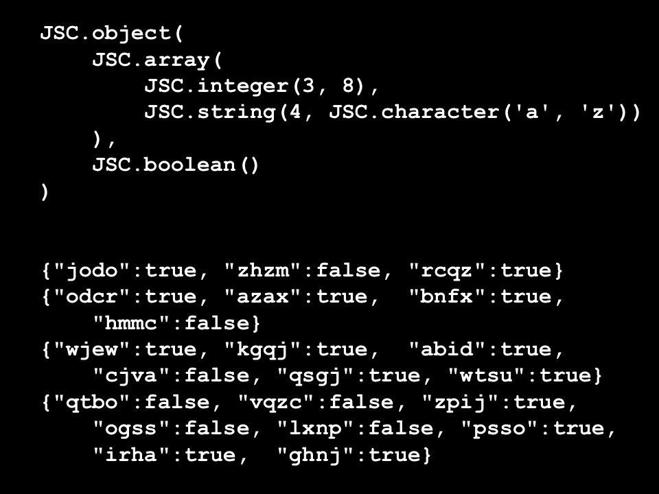 JSC.object( JSC.array( JSC.integer(3, 8), JSC.string(4, JSC.character( a , z )) ), JSC.boolean() ) { jodo :true, zhzm :false, rcqz :true} { odcr :true, azax :true, bnfx :true, hmmc :false} { wjew :true, kgqj :true, abid :true, cjva :false, qsgj :true, wtsu :true} { qtbo :false, vqzc :false, zpij :true, ogss :false, lxnp :false, psso :true, irha :true, ghnj :true}