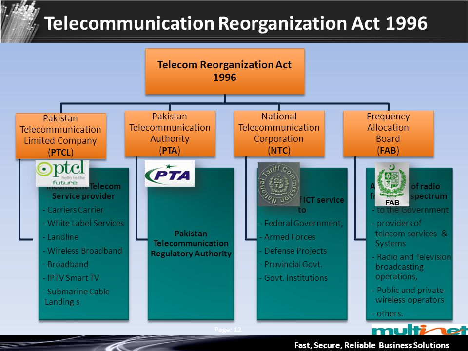 Fast, Secure, Reliable Business Solutions Multinet & Axiata Group Page: 12 Telecommunication Reorganization Act 1996 Telecom Reorganization Act 1996 P