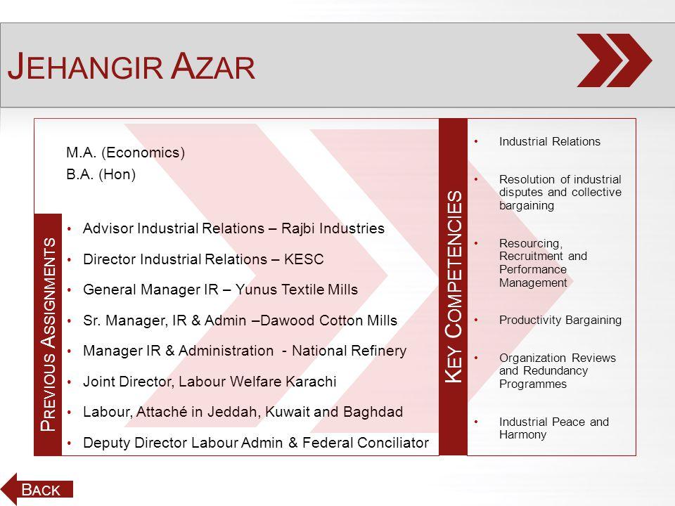 M.A. (Economics) B.A. (Hon) Advisor Industrial Relations – Rajbi Industries Director Industrial Relations – KESC General Manager IR – Yunus Textile Mi