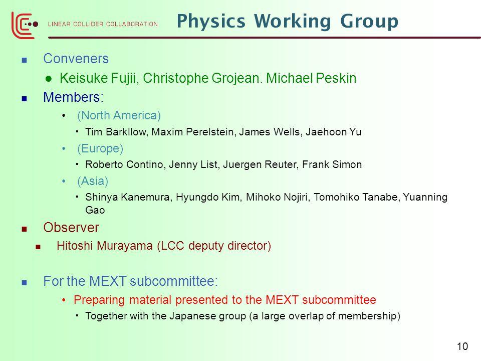 Physics Working Group Conveners Keisuke Fujii, Christophe Grojean. Michael Peskin Members: (North America)  Tim Barkllow, Maxim Perelstein, James Wel