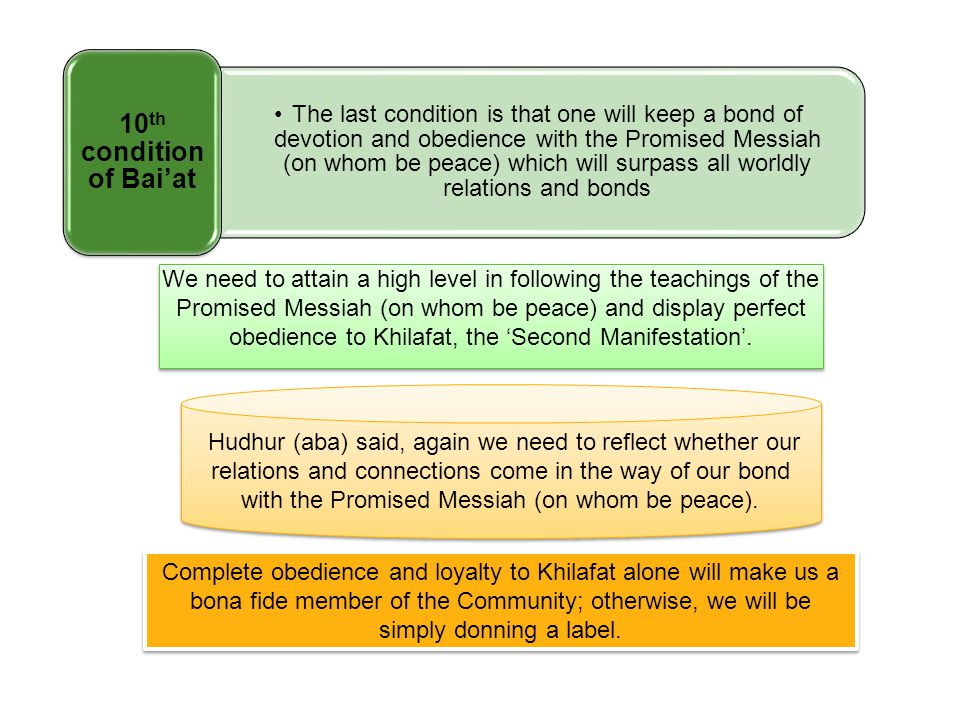 We need to attain a high level in following the teachings of the Promised Messiah (on whom be peace) and display perfect obedience to Khilafat, the 'S