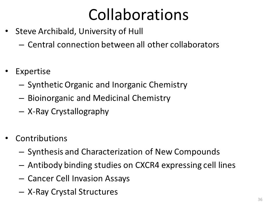 Collaborations Steve Archibald, University of Hull – Central connection between all other collaborators Expertise – Synthetic Organic and Inorganic Chemistry – Bioinorganic and Medicinal Chemistry – X-Ray Crystallography Contributions – Synthesis and Characterization of New Compounds – Antibody binding studies on CXCR4 expressing cell lines – Cancer Cell Invasion Assays – X-Ray Crystal Structures 36