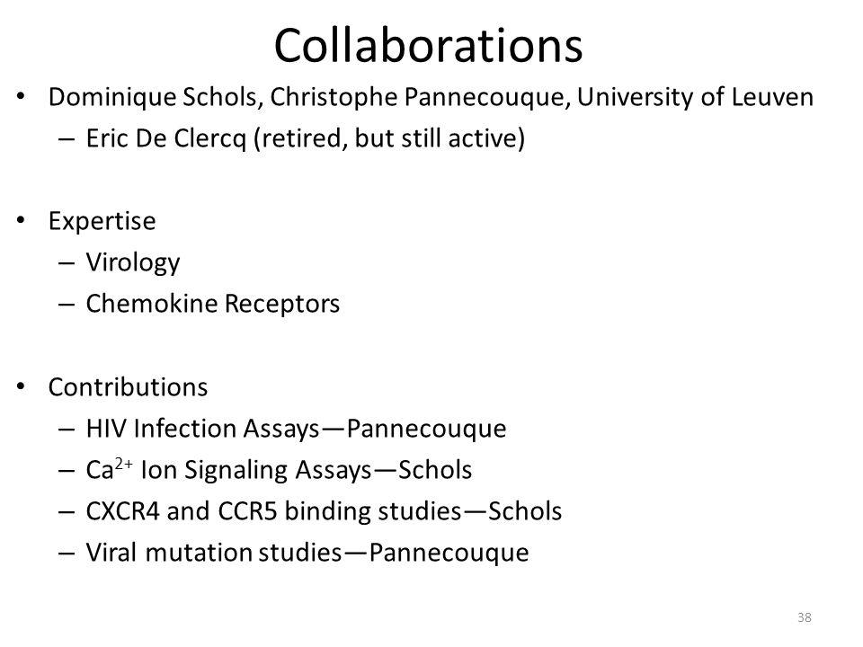 Collaborations Dominique Schols, Christophe Pannecouque, University of Leuven – Eric De Clercq (retired, but still active) Expertise – Virology – Chemokine Receptors Contributions – HIV Infection Assays—Pannecouque – Ca 2+ Ion Signaling Assays—Schols – CXCR4 and CCR5 binding studies—Schols – Viral mutation studies—Pannecouque 38