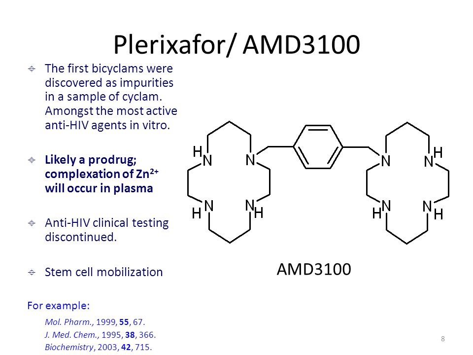 8 Plerixafor/ AMD3100 AMD3100  The first bicyclams were discovered as impurities in a sample of cyclam. Amongst the most active anti-HIV agents in vi