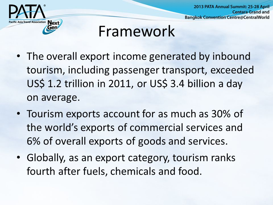Framework The overall export income generated by inbound tourism, including passenger transport, exceeded US$ 1.2 trillion in 2011, or US$ 3.4 billion a day on average.