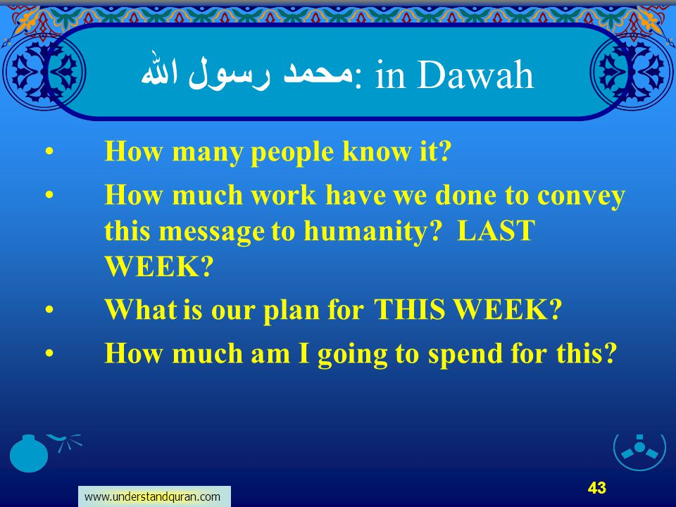 www.understandquran.com 43 محمد رسول الله : in Dawah How many people know it? How much work have we done to convey this message to humanity? LAST WEEK