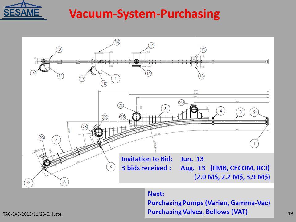 Vacuum-System-Purchasing TAC-SAC-2013/11/23-E.Huttel 19 Invitation to Bid: Jun. 13 3 bids received :Aug. 13(FMB, CECOM, RCJ) (2.0 M$, 2.2 M$, 3.9 M$)