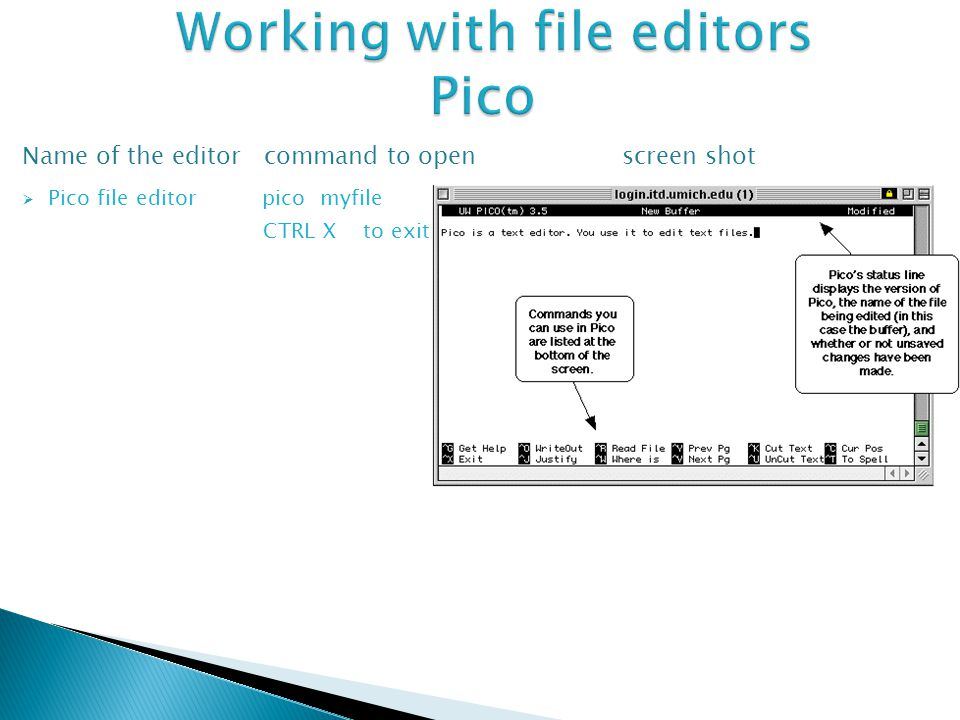 Name of the editor command to open screen shot  Pico file editor pico myfile CTRL X to exit