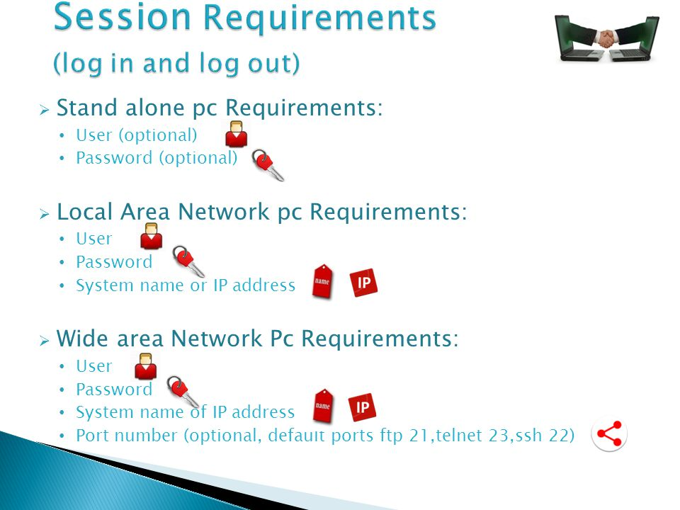  Stand alone pc Requirements: User (optional) Password (optional)  Local Area Network pc Requirements: User Password System name or IP address  Wide area Network Pc Requirements: User Password System name of IP address Port number (optional, default ports ftp 21,telnet 23,ssh 22)