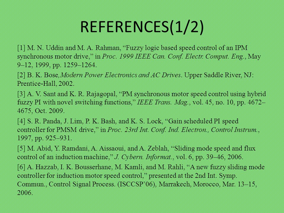 REFERENCES(1/2) [1] M. N. Uddin and M. A.