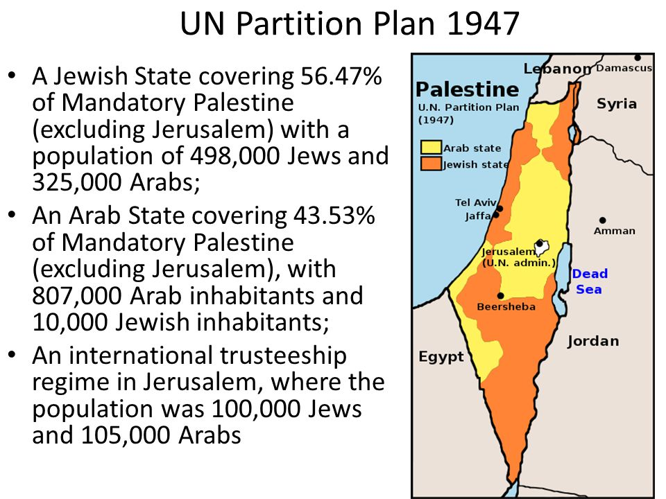 UN Partition Plan 1947 A Jewish State covering 56.47% of Mandatory Palestine (excluding Jerusalem) with a population of 498,000 Jews and 325,000 Arabs