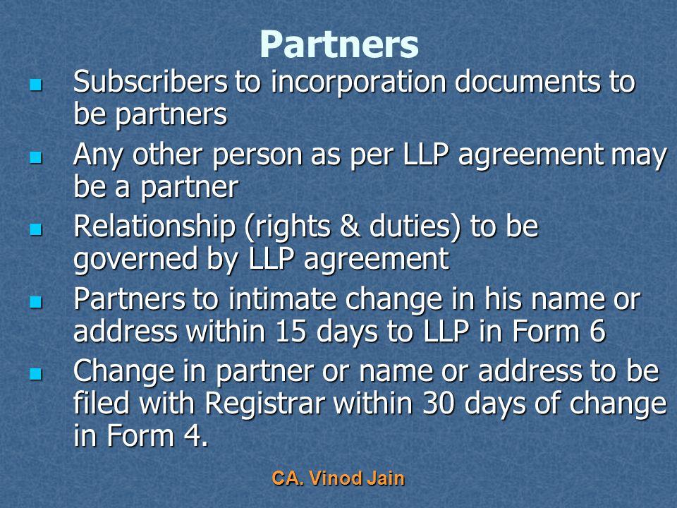 CA. Vinod Jain No. of Partners Minimum 2 Minimum 2 Maximum – NA Maximum – NA What happens if falls below 2 ? What happens if falls below 2 ? If carrie