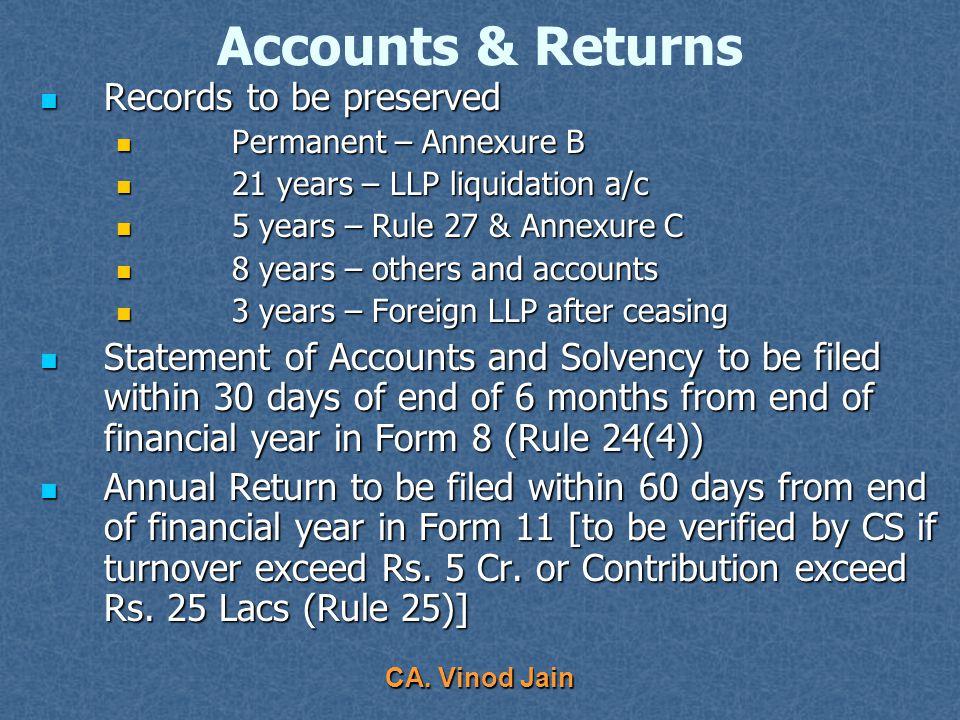 CA. Vinod Jain Accounts & Returns Method of Accounting: Method of Accounting: Double entry system Double entry system Cash or accrual Cash or accrual