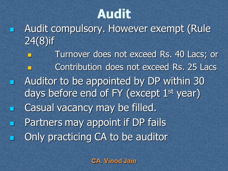 CA. Vinod Jain Accounts & Returns Records to be preserved Records to be preserved Permanent – Annexure B Permanent – Annexure B 21 years – LLP liquida