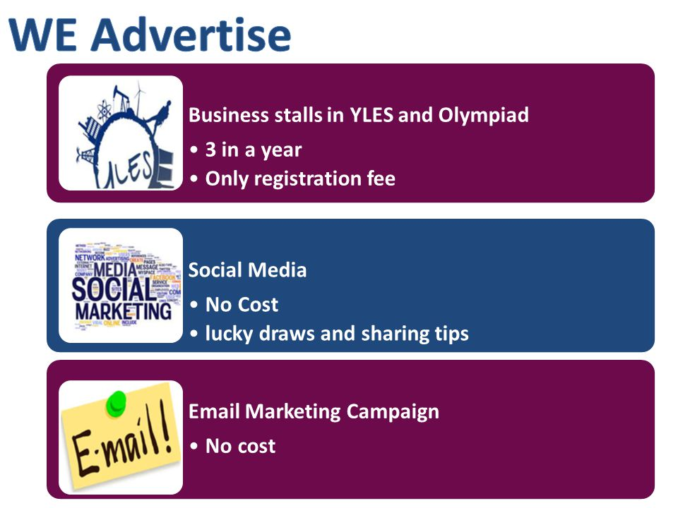 Business stalls in YLES and Olympiad 3 in a year Only registration fee Social Media No Cost lucky draws and sharing tips Email Marketing Campaign No cost