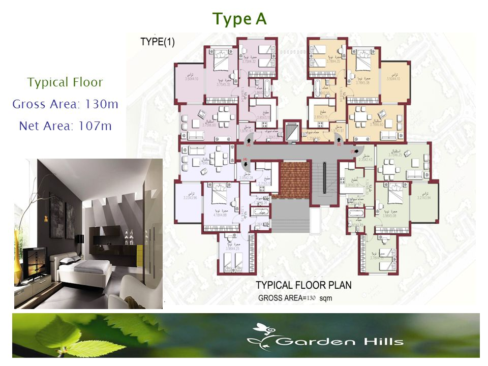 Type A Typical Floor Gross Area: 130m Net Area: 107m