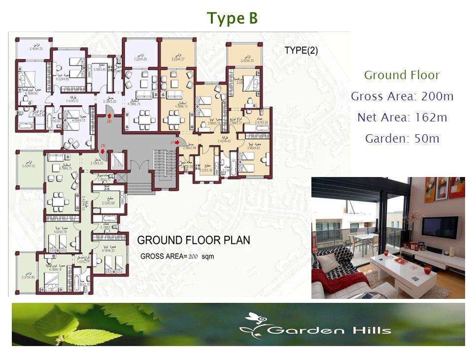 Ground Floor Gross Area: 200m Net Area: 162m Garden: 50m