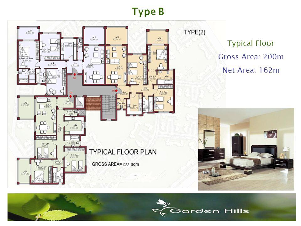 Type B Typical Floor Gross Area: 200m Net Area: 162m