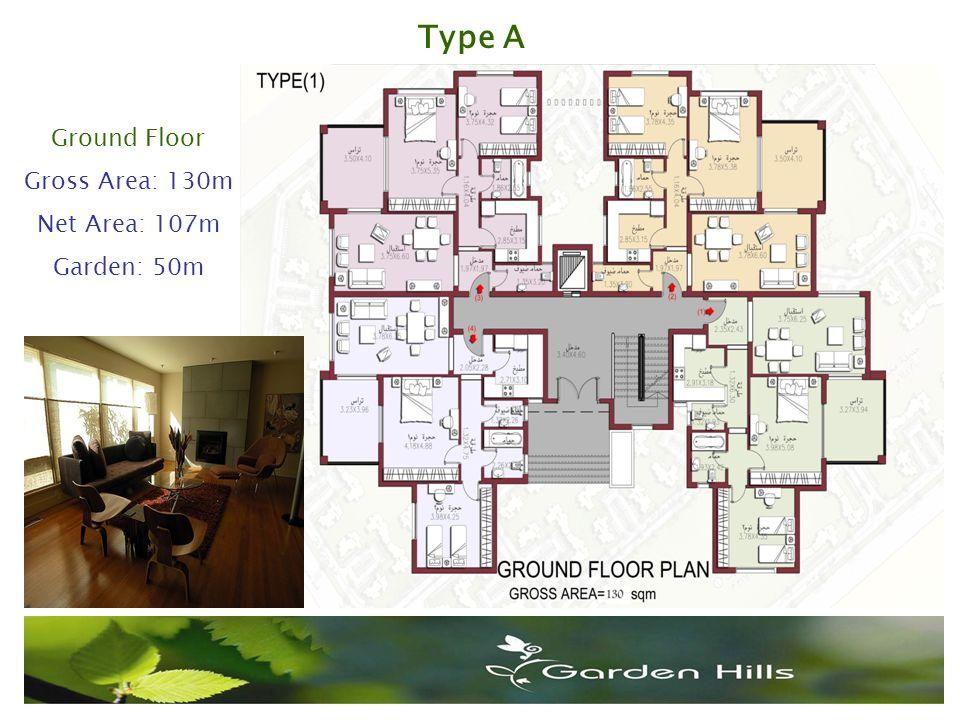 Ground Floor Gross Area: 130m Net Area: 107m Garden: 50m