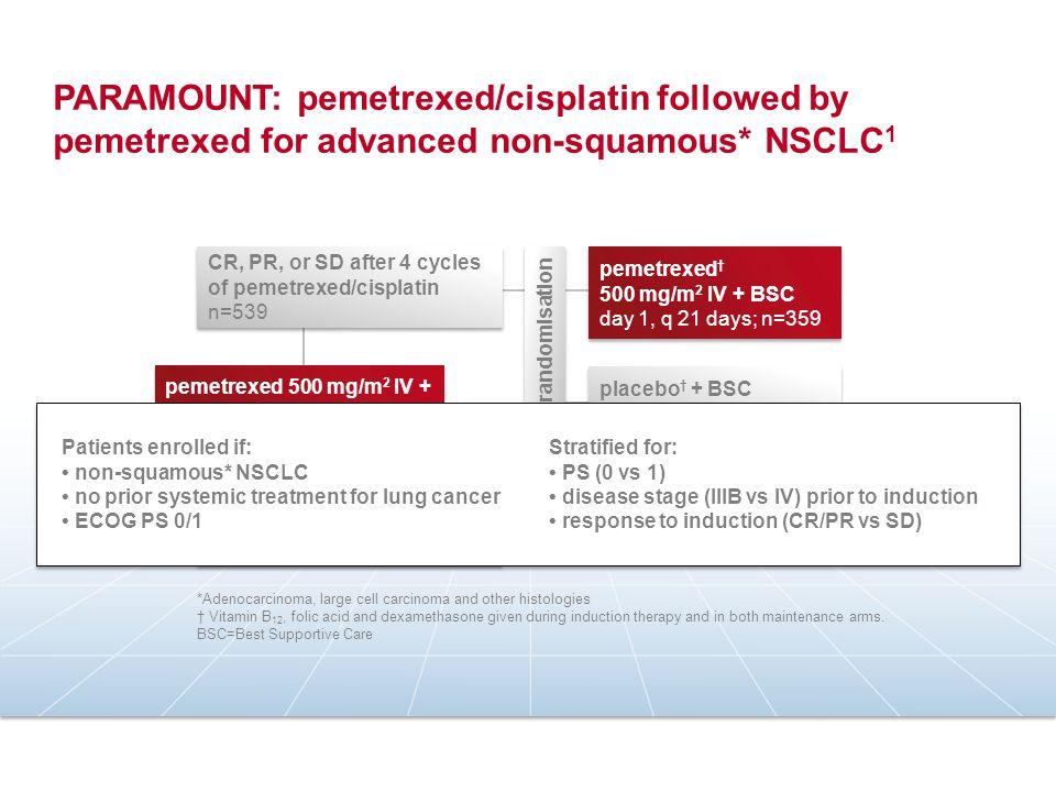PARAMOUNT: pemetrexed/cisplatin followed by pemetrexed for advanced non-squamous* NSCLC 1 2:1 randomisation pemetrexed † 500 mg/m 2 IV + BSC day 1, q